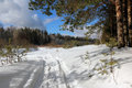 Path In The Snow Royalty Free Stock Photography - 78067077