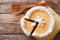 Cut Pumpkin Cheese Cake Close-up On The Table. Horizontal Top Vi Stock Photography - 78071982