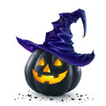 Black Halloween Vector Pumpkin With Orange Light Inside Wearing In Dark Blue Witch Hat Royalty Free Stock Images - 78085889