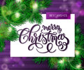 Vector Hand Drawn Christmas Lettering Greetings Text - Merry Christmas- With Christmas Brunch On Watercolor Striped Stock Photo - 78093830