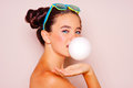 Teenager Girl Blowing A Bubble Gum Balloon Royalty Free Stock Photos - 78094488