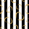 Golden Grunge Hearts Stripes Seamless Pattern Royalty Free Stock Photo - 78097505