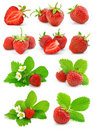 Set Of Red Strawberry Fruits With Green Leafs Royalty Free Stock Photography - 7819587