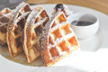 Waffle With Icing Sugar Stock Images - 78102674
