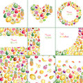 Collection Of Templates With Hand Drawn Bright Stylish Fruits Royalty Free Stock Photography - 78102807