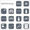 Vector Flat Optometry Icon Set With Long Shadow. Optician, Ophthalmology, Vision Correction, Eye Test, Eye Care, Eye Stock Photos - 78158973