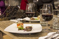 Wine Glasses With Napkins, Glasses And Gourmet Food, Banquet Table Royalty Free Stock Photography - 78169927