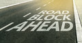 Road Block Ahead Message On The Highway Lane Stock Photography - 78180942