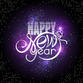 Lettering Happy New Year On Colorful Glowing Sparkles Background. Shape Of Text Same As Xmas Ball Royalty Free Stock Image - 78181476