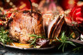 Christmas Sliced Roasted Ham On Dinning Table With Festive Holiday Decoration, Side View Stock Photography - 78181962