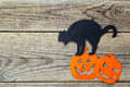 Halloween Holiday Background With Black Cat And Jack-o'-Lanter Stock Images - 78189684