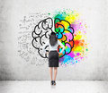Woman With Black Hair And Big Brain Sketch Royalty Free Stock Photo - 78202235