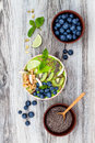Matcha Green Tea Breakfast Superfoods Smoothies Bowl Topped With Chia, Flax And Pumpkin Seeds, Bee Pollen, Granola, Coconut Flakes Royalty Free Stock Images - 78204449