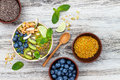 Matcha Green Tea Breakfast Superfoods Smoothies Bowl Topped With Chia, Flax And Pumpkin Seeds, Bee Pollen, Granola, Coconut Flakes Royalty Free Stock Photography - 78204917