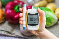 Diabetic Diet And Diabetes Concept. Hand Holds Glucometer. Stock Photography - 78206202