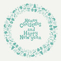 Merry Christmas And Happy New Year Lettering Greeting Card 2017. Christmas Season Hand Drawn Pattern. Vector Stock Photography - 78209922
