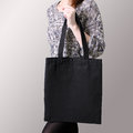 Mock-up. Girl Is Holding Black Cotton Tote Bag. Stock Photo - 78211800