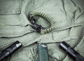 Military Paracord Bracelet, Tactical Torch And Spy-glass Royalty Free Stock Photography - 78212347