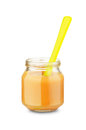 Jar Of Baby Food With Spoon Stock Photos - 78217903