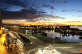 Sunset In The Harbor Of Vigo City With The Cars Lights In Motion Stock Photo - 78225890