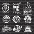 Set Of Standup Comedy Show White Labels And Logos With Black Background. Vector Badges And Stickers Stock Photo - 78238730