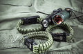 Military Paracord Bracelet, Tactical Torch And Spy-glass Royalty Free Stock Images - 78245659