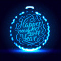 Happy New Year EPS 10. Holiday Vector Illustration. Shiny Lettering Composition With Stars And Sparkles Royalty Free Stock Photo - 78258125