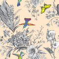 Vector Seamless Vintage Floral Pattern. Exotic Flowers And Birds. Stock Image - 78261521