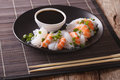 Japanese Food: Shirataki With Prawns, Spring Onions And Soy Sauc Stock Image - 78265961
