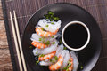 Shirataki With Prawns, Chives And Soy Sauce. Horizontal Top View Stock Image - 78266081
