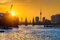 Berlin Skyline With Spree River At Sunset, Germany Royalty Free Stock Photos - 78267108