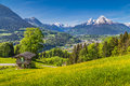Idyllic Spring Landscape In The Alps With Traditional Mountain Chalet Royalty Free Stock Images - 78267149