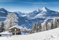 Winter Wonderland In The Alps With Traditional Mountain Chalet Royalty Free Stock Photos - 78267168