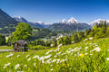 Beautiful Mountain Landscape In The Alps With Chalet In Springtime Royalty Free Stock Photography - 78270727