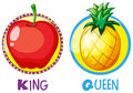 Apple And Pineapple On Round Badges Stock Images - 78293524