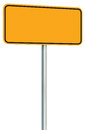 Blank Yellow Road Sign Isolated, Large Perspective Warning Copy Space, Black Frame Roadside Signpost Signboard Pole Post Empty Stock Photo - 78294520