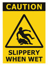 Caution Slippery When Wet Text Sign, Black Yellow Isolated Floor Surface Area Danger Warning Triangle Safety Icon Signage, Large Royalty Free Stock Photo - 78294665