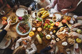 People Celebrating Thanksgiving Holiday Tradition Concept Stock Photos - 78304723