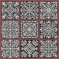 Square Monochrome Decorative Tiles Set Royalty Free Stock Photography - 78323117