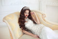 Beautiful Brunette Bride Wedding Portrait. Red Lips Makeup And H Stock Photo - 78326840