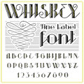 Whiskey Label Font And Sample Label Design. Vintage Looking Typeface In Black-gold Colors, Editable And Layered Royalty Free Stock Images - 78328369