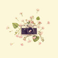 Vintage Retro Photo Camera, Pink Roses The Fairy And Leaves Royalty Free Stock Photography - 78341487