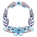 Wreath With Watercolor Blue Flowers And Dark Foliage Stock Photography - 78343742