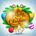 Merry Christmas Typography In Wooden Sign With Christmas Balls And Gifts Vector Illustration Stock Image - 78346161