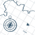 Map And Compass. Royalty Free Stock Photo - 78354315
