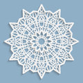 Lace 3D Mandala, Round Symmetrical Openwork Pattern, Lacy Doily, Decorative  Snowflake, Arabic Ornament, Indian Ornament, Embossed Stock Photo - 78382980