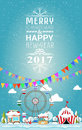 Invitation Card Merry Christmas And Happy New Year 2017 On Fair. Stock Images - 78411524