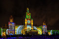 Moscow International Festival Circle Of Light. 3D Mapping Show On Moscow State University Royalty Free Stock Photography - 78421237