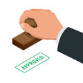 Hand Of Business Man Stamping Approved Word On A Paper. Approved Stamp Flat Vector Isometric Illustration Stock Photo - 78422290