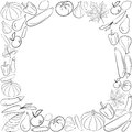 Autumn Graphic Card With Fruits And Vegetables In Black And White Colors. Vector Thanksgiving Day Design. Coloring Book Page Desig Royalty Free Stock Image - 78430786